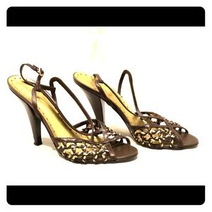 BCBGirls Brown Gold Leather Heels Sandals 7B